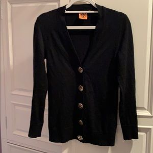 Tory Burch Black Wool Cardigan